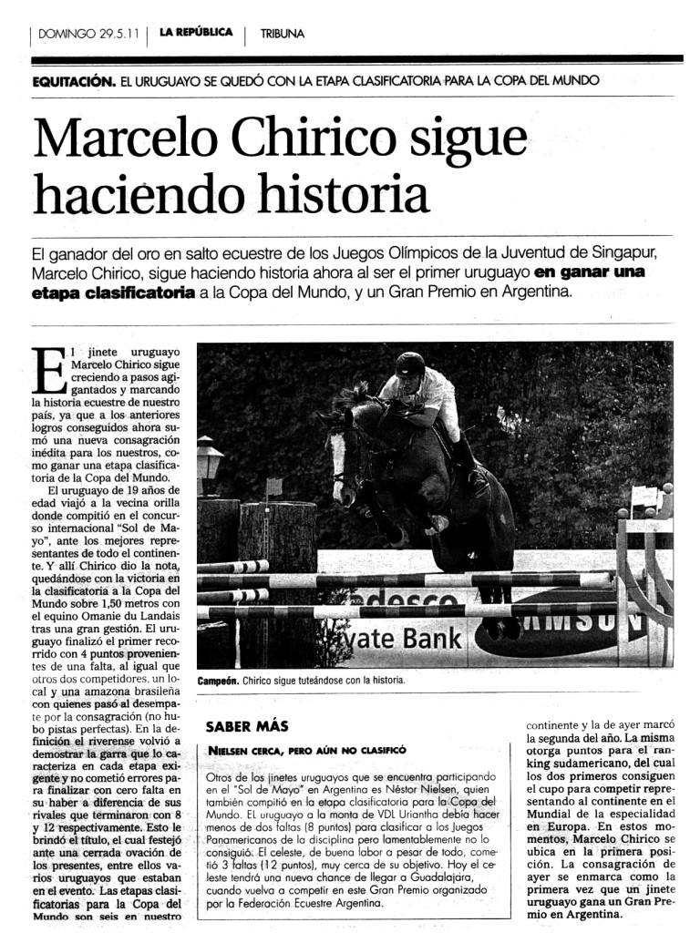 Diario La República (Uruguay), 29 de mayo de 2011
